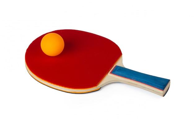 白い背景で隔離の卓球ラケット Premium写真