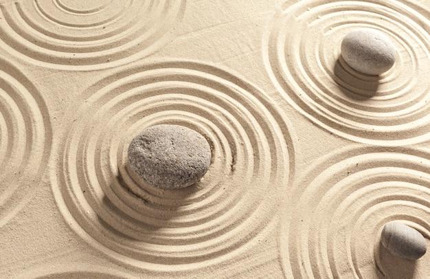 日本庭園の禅石の背景 Premium写真