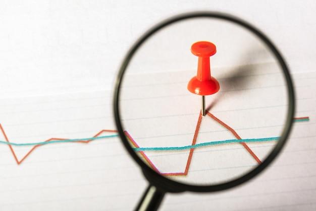 虫眼鏡とビジネスの成長グラフ Premium写真