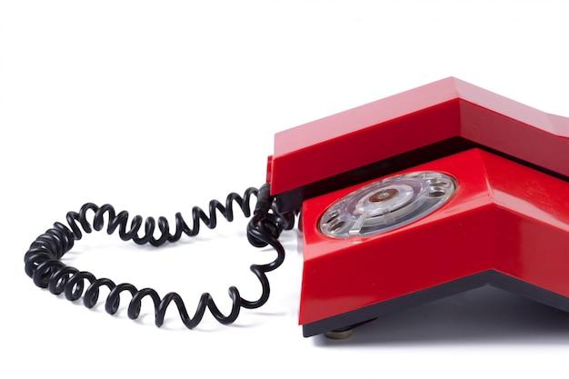 白地に赤の古い電話 Premium写真