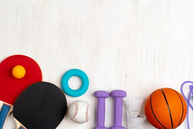 スポーツアクセサリーの構成の平面図 Premium写真