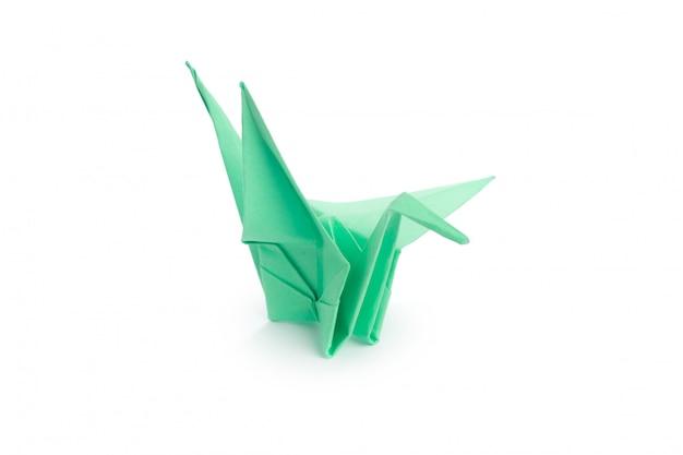 Оригами журавль на белом фоне Premium Фотографии