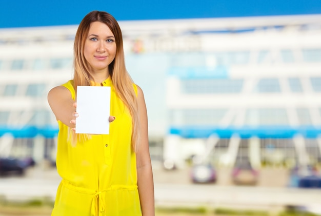 Женщина пустой карточки Premium Фотографии