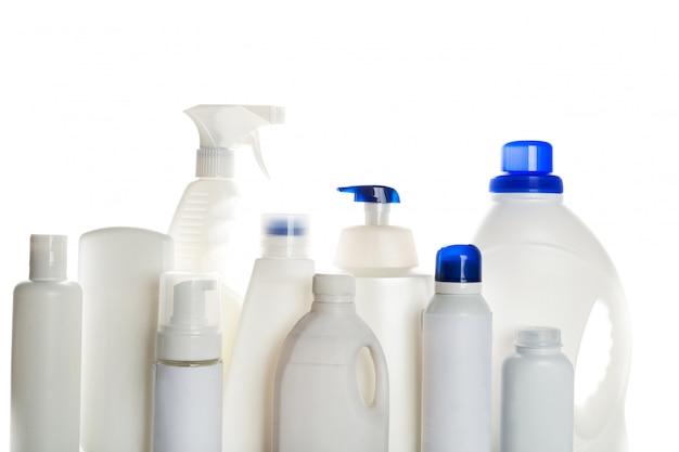 Чистка продукта пластиковыми контейнерами Premium Фотографии