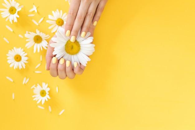 スタイリッシュでお洒落な女性のマニキュア。美しいマニキュアと手にデイジーの花。 Premium写真