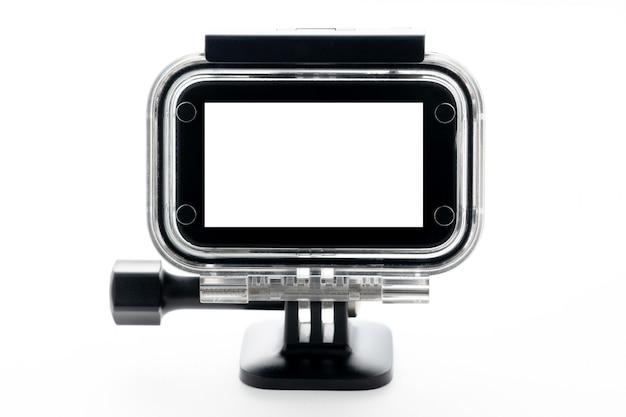白い背景に分離された防水アクアボックスでの極端なアクションカメラ。 Premium写真