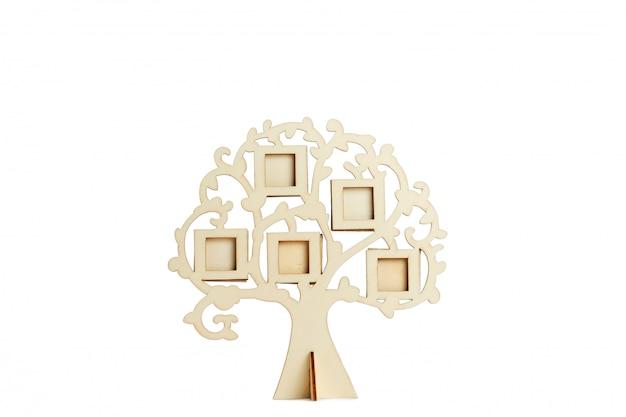 白い表面に家系図の木製フレーム Premium写真