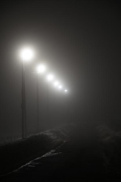 Фонари по ночной дороге в тумане Premium Фотографии