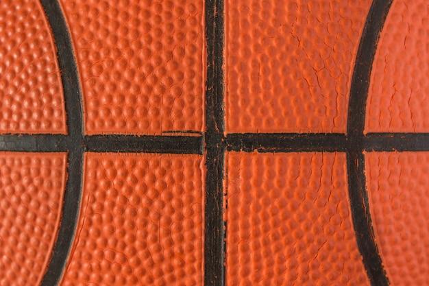 背景のバスケットボールのビューで引けた。バスケットボール。 Premium写真