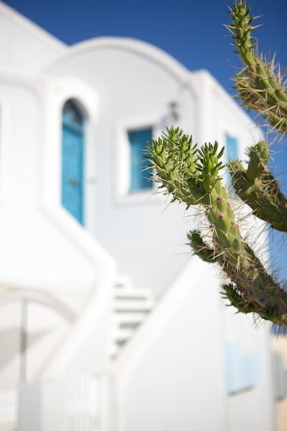 サントリーニ島、ギリシャのイアの町。 Premium写真