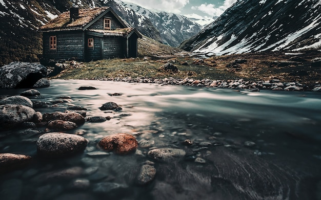北部の風景。山の家 Premium写真