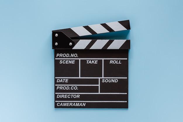 映画撮影装置のための青の映画クラッパーボード Premium写真