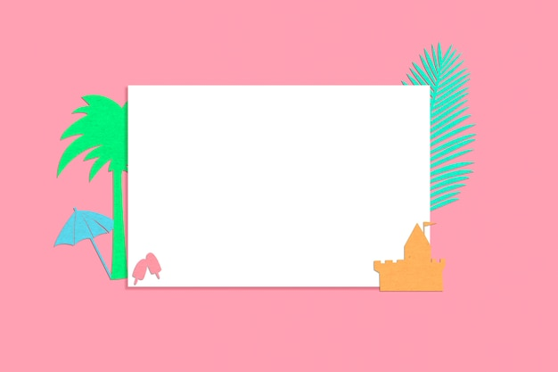 Чистый лист бумаги с летними элементами силуэта Бесплатные Фотографии