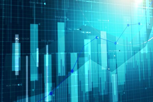 График фондового рынка. бизнес граф фон. Premium Фотографии