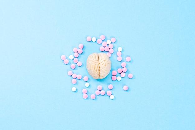 白とピンクの錠剤で脳。脳のためのいくつかの薬。医薬品、精神医薬品、向知性薬およびその他の医薬品の象徴。医学。脳の治療 Premium写真