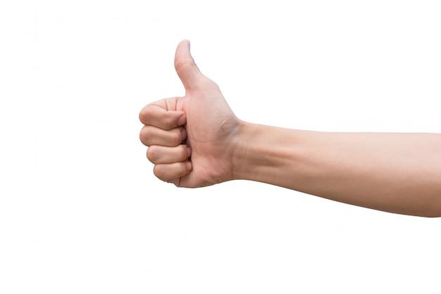 Рука человека показывает палец вверх, изолированные на белом Premium Фотографии