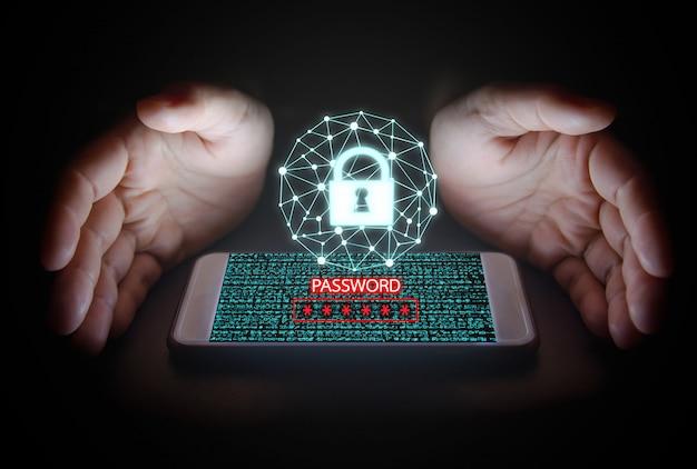 Данные со значком замка, текстом пароля и виртуальными экранами на смартфоне. Premium Фотографии