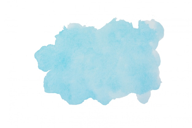 スカイブルーの水彩の背景。クリッピングストロークの形は、クリッピングパスで白に分離 Premium写真