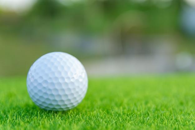 ゴルフ場でプレーする準備ができている緑の芝生の上のゴルフボール Premium写真