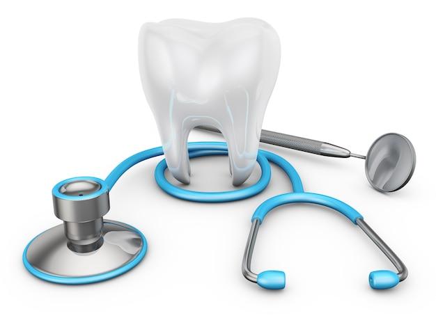 聴診器と白い背景の上の歯 Premium写真