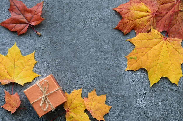 秋の組成物。カエデの葉とギフトボックス。フラット横たわっていた、トップビュー Premium写真