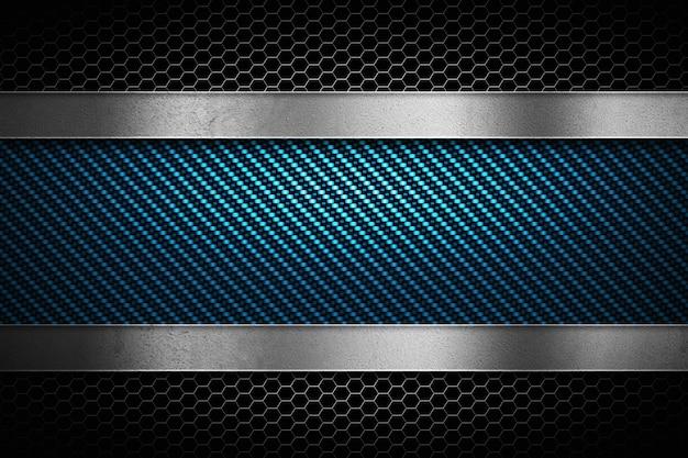 灰色の穴があいた金属およびポーランドの金属板が付いている抽象的な青いカーボンファイバー Premium写真