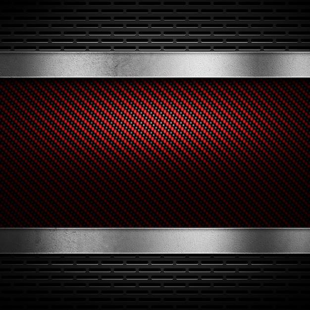 Абстрактное красное углеродное волокно с серым перфорированным металлом и полированной металлической пластиной Premium Фотографии