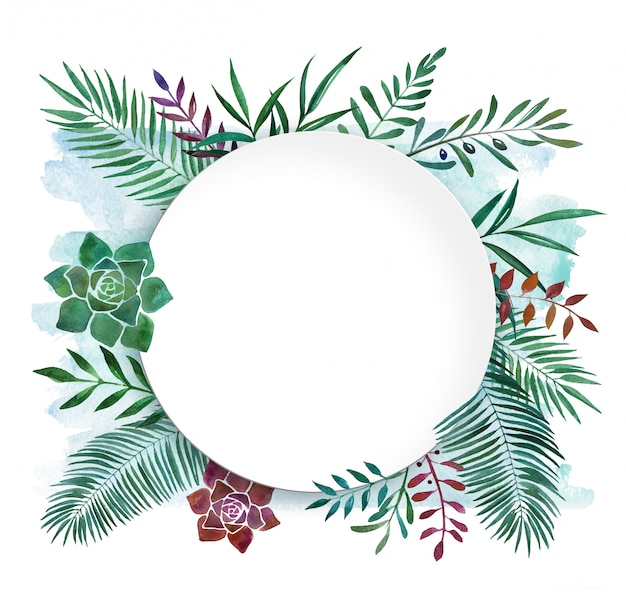 水彩植物トロピカルフレーム料理 Premium写真
