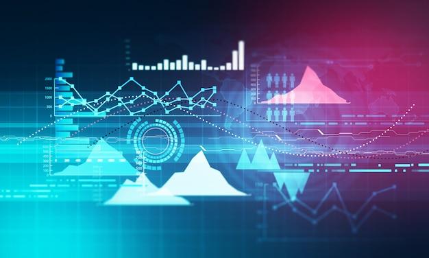 上昇傾向の折れ線グラフ、棒グラフ、濃い青の背景にある強気市場のダイアグラムでグラフ化します。 Premium写真