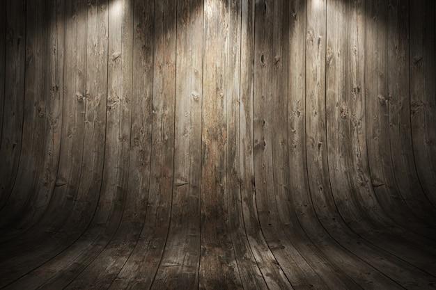 古い汚れた湾曲した木製の背景 Premium写真