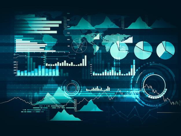 График с линейным графиком восходящего тренда, гистограммой и диаграммой на бычьем рынке на синем фоне Premium Фотографии