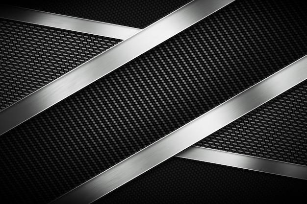 Три вида современного углеродного волокна с полированной металлической пластиной Premium Фотографии