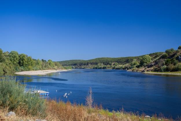 ヴィラノヴァダバルキーニャ、ポルトガルの川を見る Premium写真
