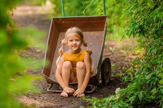 庭の手押し車に座って笑顔の国で幸せな小さなブロンドの女の子 Premium写真