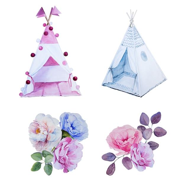 Акварельные раскрашенные вручную вигвамы и цветочные букеты. детская комната украшения. хан нарисовал детские палатки и цветочную композицию. Premium Фотографии