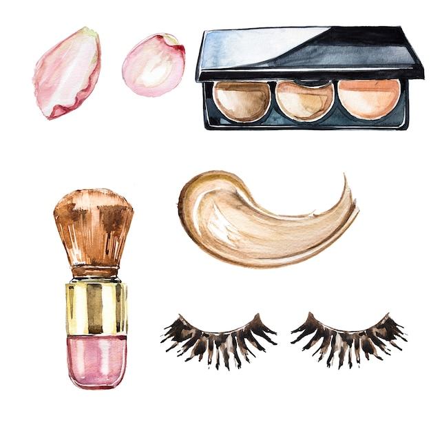 Акварель ручной росписью макияж клипарт набор. дизайн салона красоты. косметологическая иллюстрация. Premium Фотографии