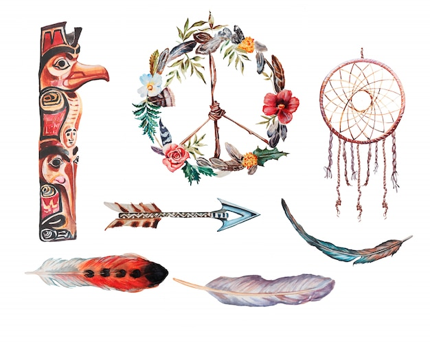 Акварель ручная роспись ловец снов, стрелка и перья иллюстрации. Premium Фотографии