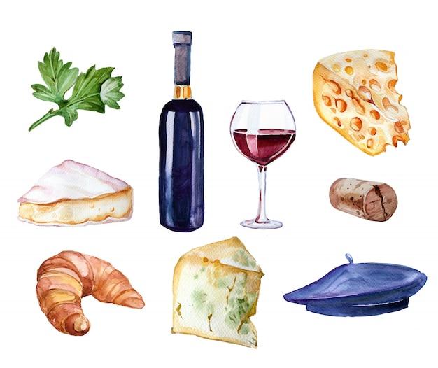 水彩の手描きのワインボトル、ガラス行くワイン、クロワッサン、チーズ、ベレー帽クリップアートセット白で隔離。旅行の概念図。 Premium写真