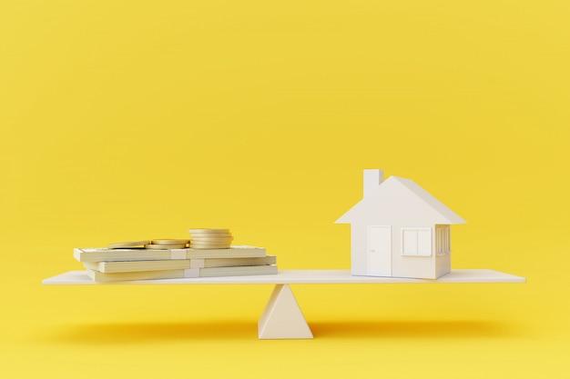 黄色の背景に白いシーソーバランスの家モデルとお金。ビジネスファイナンスの概念。 Premium写真