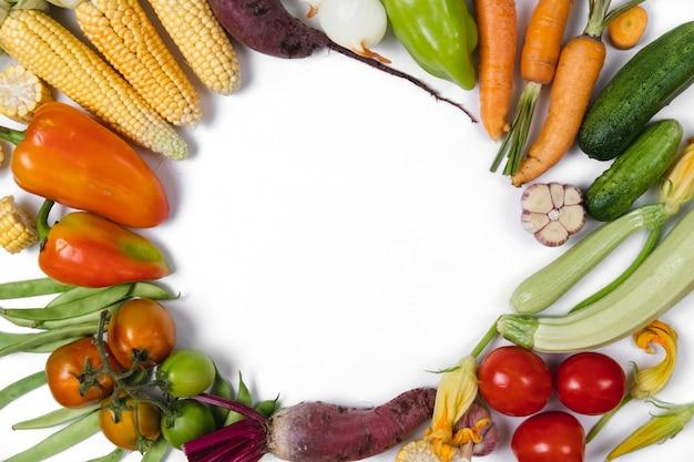 Рамка фон из осенних овощей. концепция питания. плоская планировка, вид сверху, копия пространства Premium Фотографии