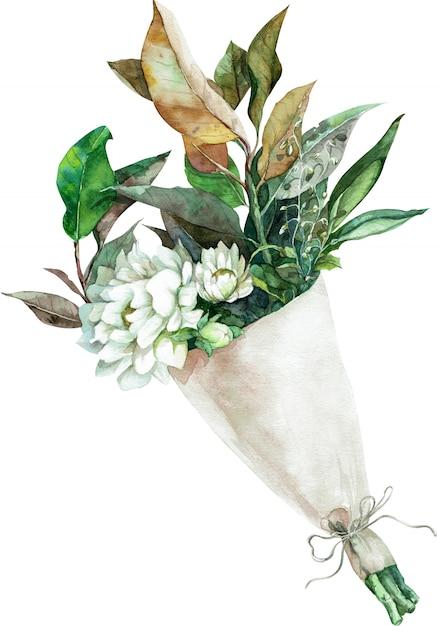Акварельный букет из белых цветов с зелеными и желтыми листьями в бумажной упаковке. рисованной иллюстрации Premium Фотографии