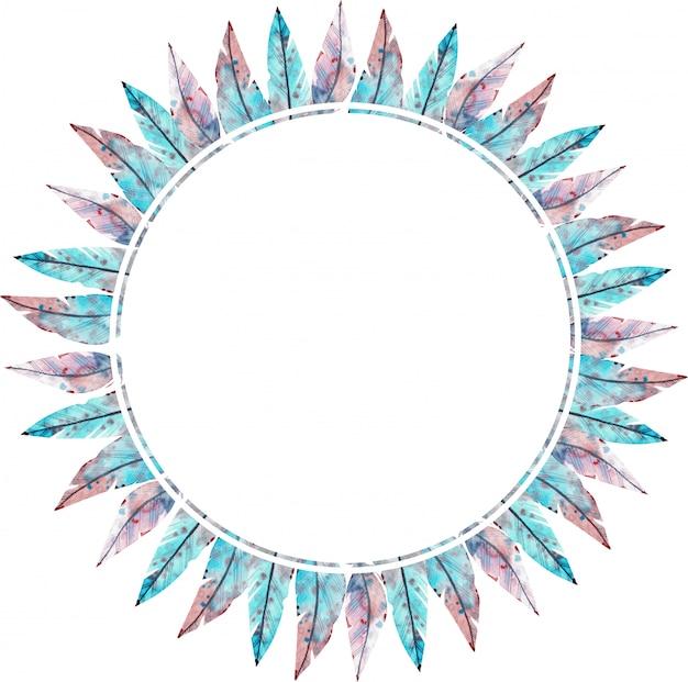 青とピンクの羽で作られた水彩画のラウンドフレーム。水彩イラスト。 Premium写真