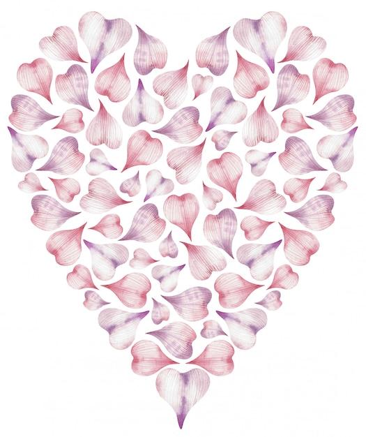 ピンクのハート形の花びらから作られた心の水彩イラスト。 Premium写真