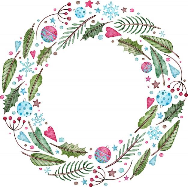 Акварельный рождественский и новогодний венок - ель, омела и ягоды. круглая зеленая зимняя рамка. Premium Фотографии
