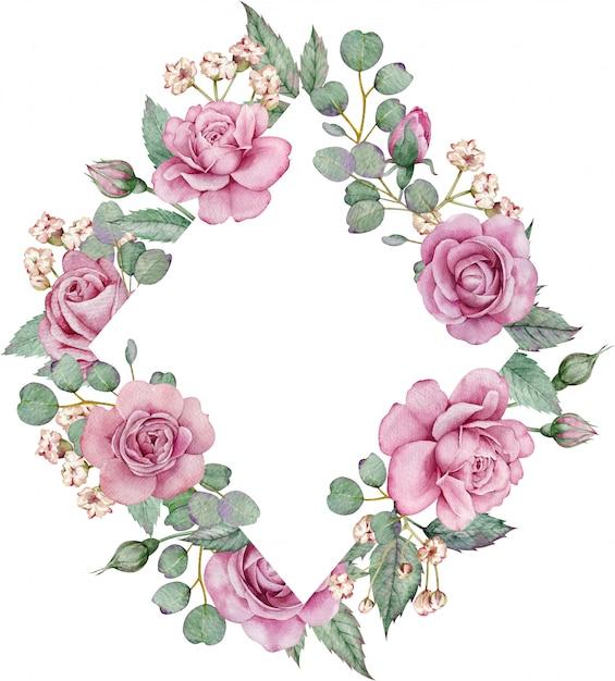 水彩花のフレーム。ピンクのバラとユーカリの枝 Premium写真