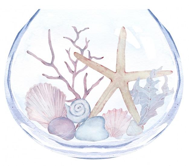 石、海藻、星、貝殻の水族館。水中生活と花瓶の水彩イラスト。 Premium写真