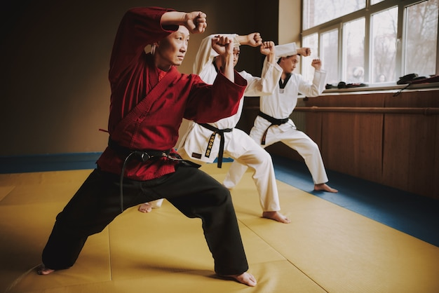 Старый сенсей и два студента боевых искусств тренируются вместе. Premium Фотографии