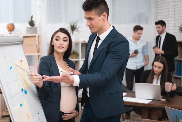 妊娠中の同僚がオフィスでの仕事について議論しています。 Premium写真