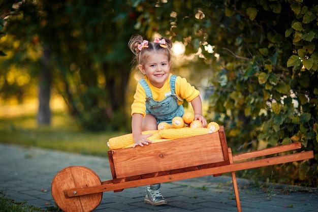 手押し車の黄色いトウモロコシの穂軸と幸せな子。トウモロコシの穂軸を持つ美しい女の赤ちゃん。幸せな子。木製の手押し車で秋の収穫。 Premium写真