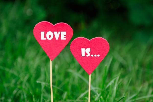 Деревянное красное сердце на летнем фоне Premium Фотографии